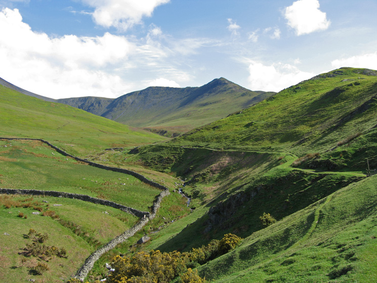 Carl Side, Long Side and Ullock Pike from the track in Southerndale below Watches