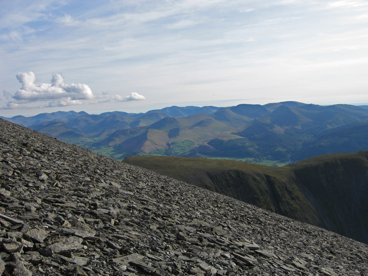 The view south from high up on Skiddaw's northwest ridge with the north western fells seen over Carl Side