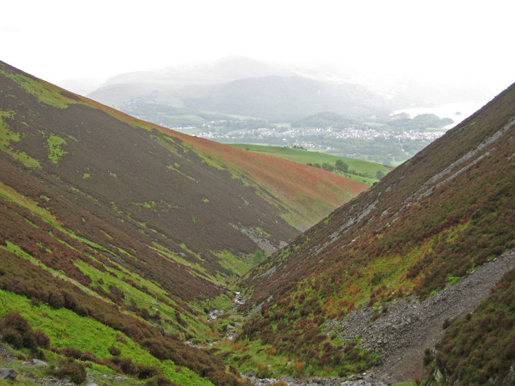 Looking back down the valley of Slades Beck