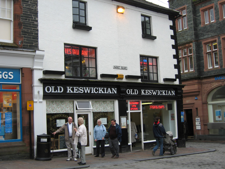 The Old Keswickian fish and chip shop in the centre of Keswick