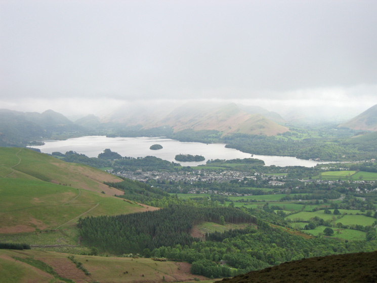 Dropping below the cloud and Keswick and Derwent Water come into view
