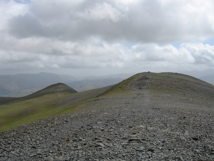 Looking south along Skiddaw's summit ridge with Skiddaw Little Man on the left