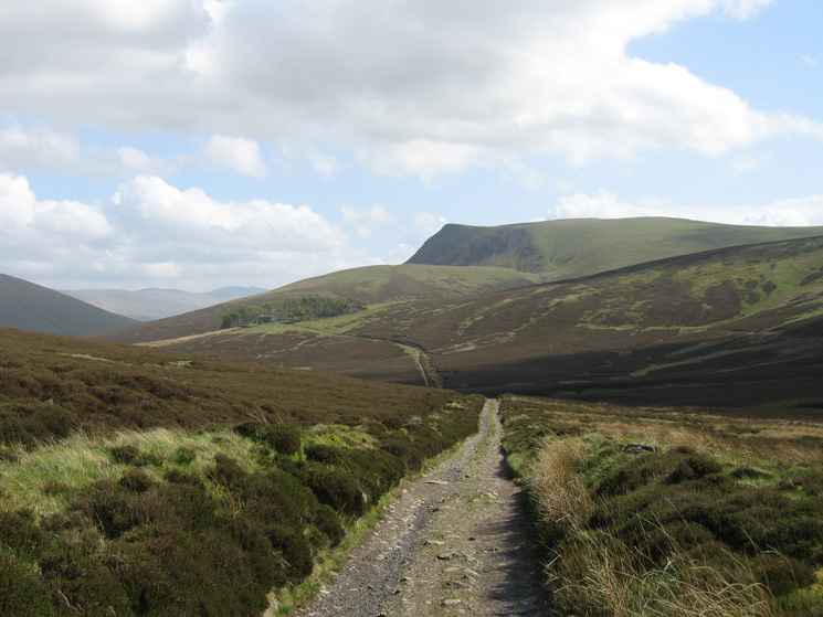 Looking back to Skiddaw House and Lonscale Fell from the track north to Whitewater Dash