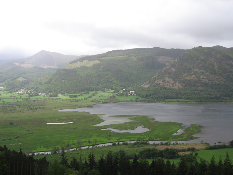The head of Bassenthwaite Lake with Whinlatter Forest and Barf on the far side