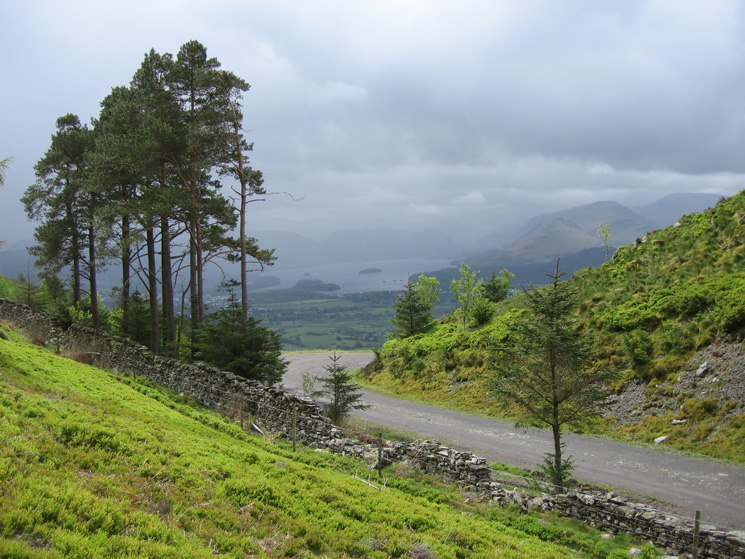 The view south to Derwent Water from Long Doors