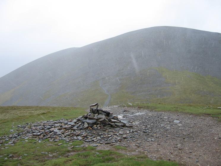 Skiddaw from Carl Side's summit as it chucks it down with rain