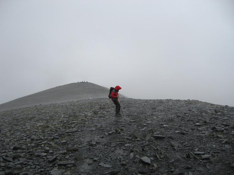 Foul conditions on Skiddaw's summit ridge