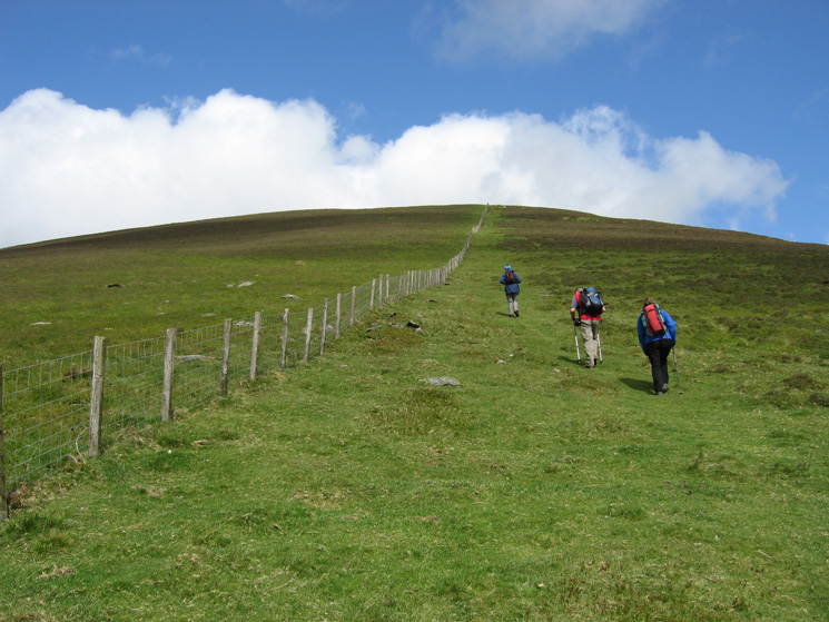 Climbing up Lonscale Fell, just follow the fence