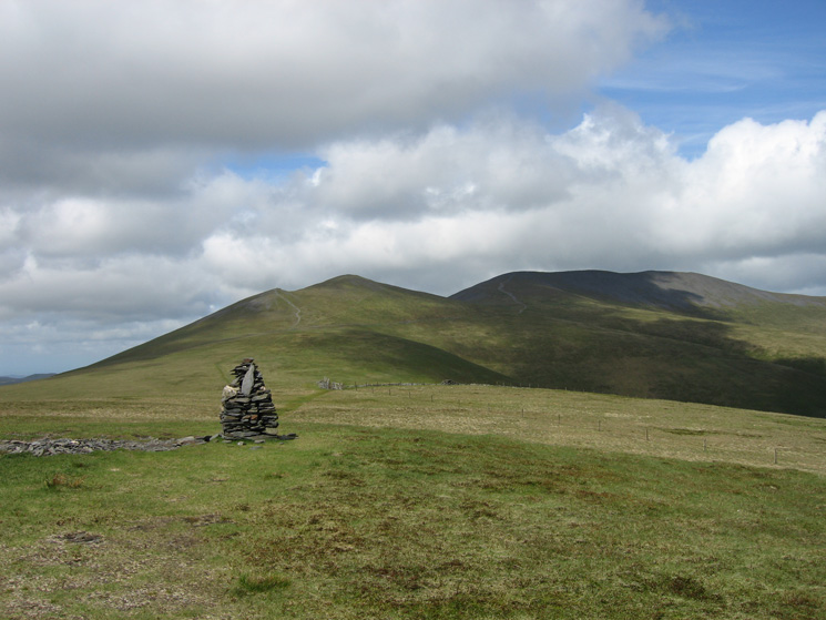 Skiddaw Little Man and Skiddaw from Lonscale Fell's summit cairn