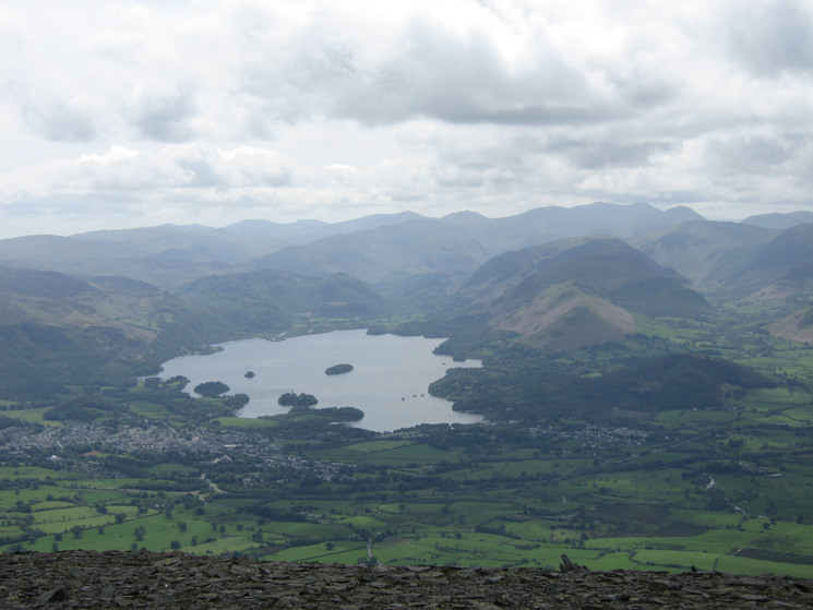 Derwent Water from the south end of Skiddaw's summit ridge