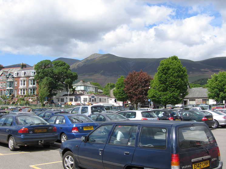 Skiddaw and Skiddaw Little Man from the Bell Close car park in Keswick