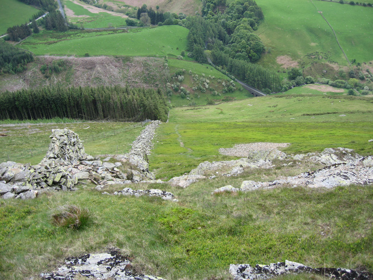 Looking down on Scawgill Bridge from the steep ascent of Graystones