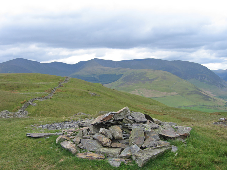 Grisedale Pike, Hopegill Head and Whiteside from Wainwright's top of Graystones