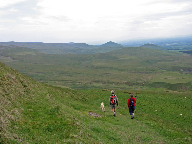 Heading down below Wildboar Scar, the most prominent peak (right of centre) is Dufton Pike