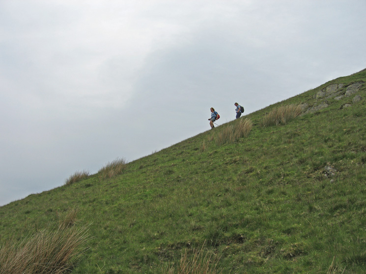 A steep descent off Castle Fell