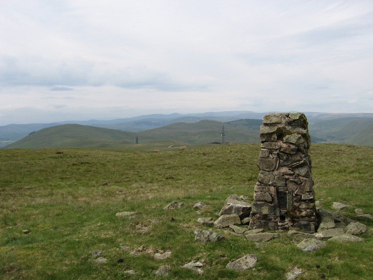 The trig point at Grayrigg Forest's summit