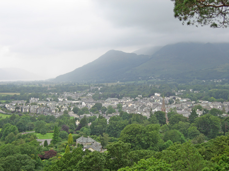 Dodd behind Keswick with the rest of the Skiddaw fells in cloud