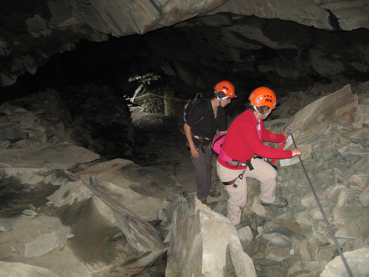Ascending the underground incline, Anne with our guide Simon