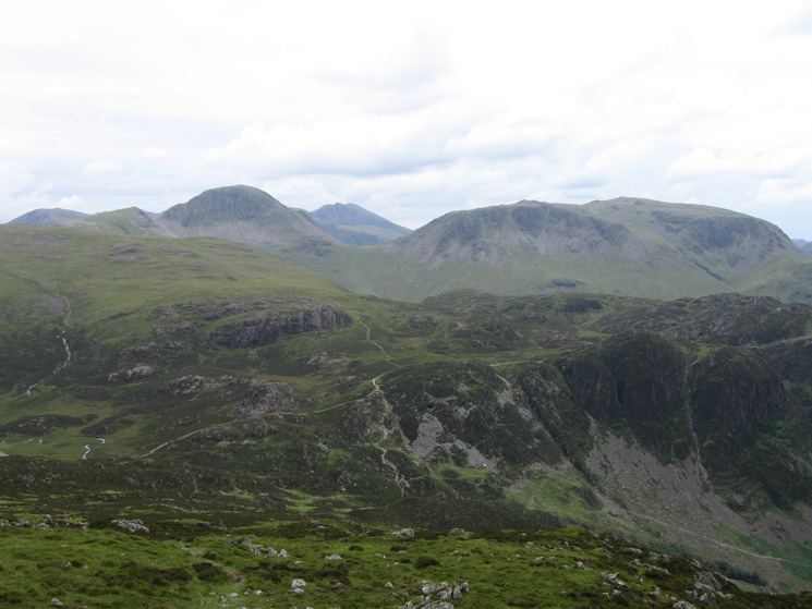 Great Gable and Kirk Fell with Scafell inbetween, above Beck Head, from Fleetwith Pike