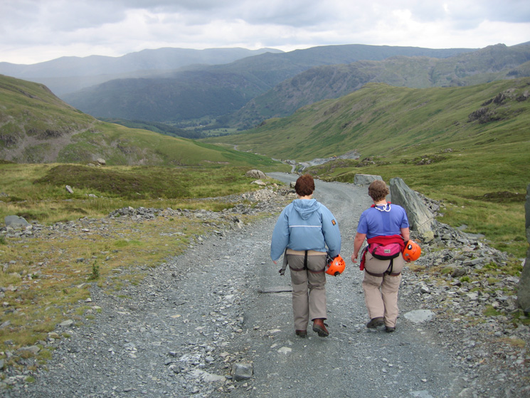 Heading down the mine road to Honister Pass