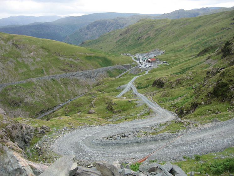 The mine road down to Honister Pass