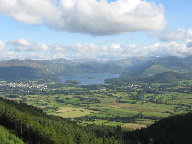 Derwent Water as we head for Long Doors, the col between Dodd and Carl Side