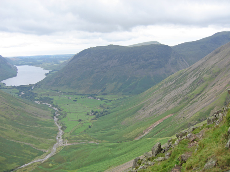 Wasdale Head and Yewbarrow from the traverse