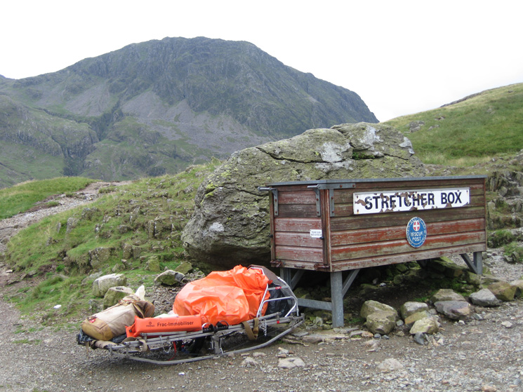 Lingmell from the mountain rescue stretcher box at Sty Head