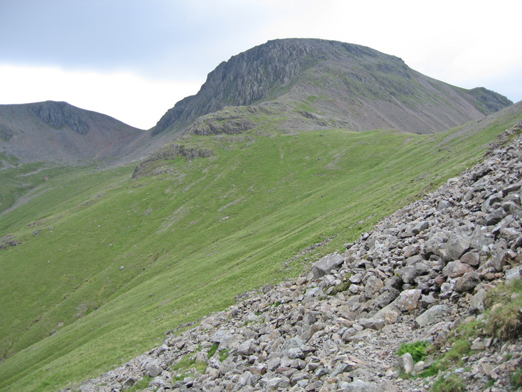 Green Gable, Windy Gap, Great Gable and Beck Head as we traverse round to Black Sail Pass