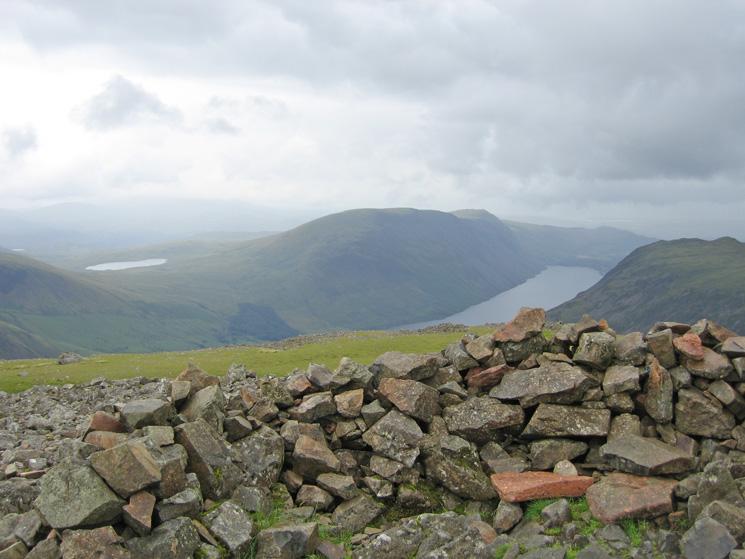 Burnmoor Tarn, Illgill Head and Wast Water from Kirk Fell's summit