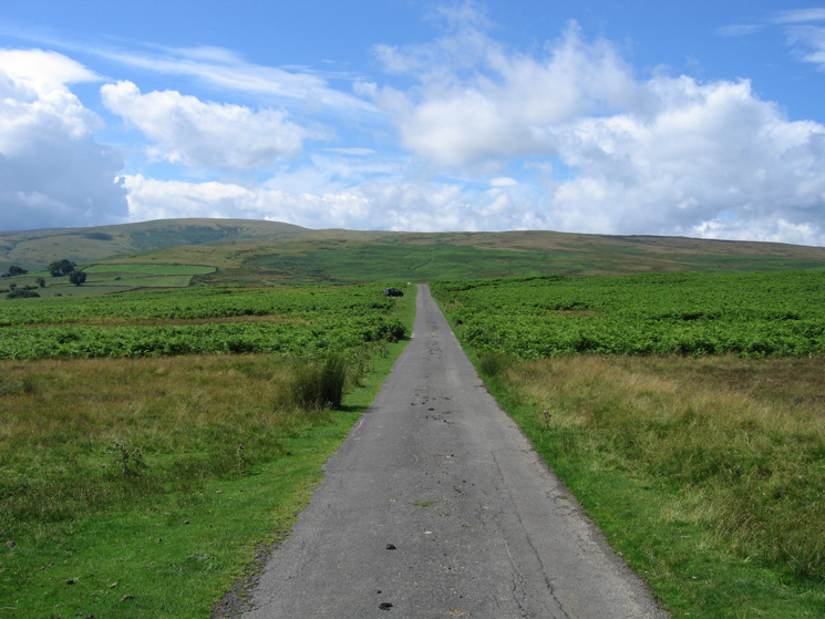 Looking along the road that we would use at the end of the walk. Loadpot Hill is the highest point on the skyline