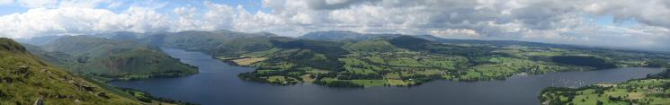 Ullswater panorama from the beacon on Arthur's Pike