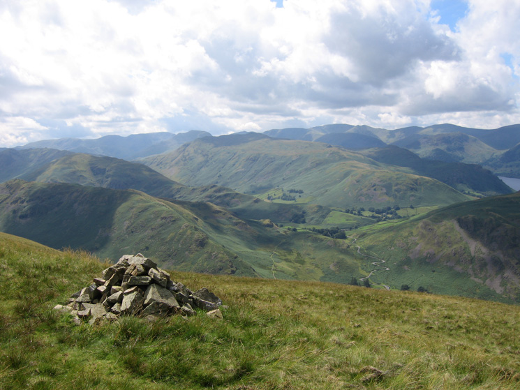Place Fell with the eastern fells behind from Bonscale Pike's summit cairn