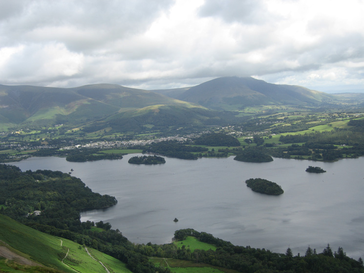 Looking across Derwent Water to Keswick and Blencathra from Catbells' summit
