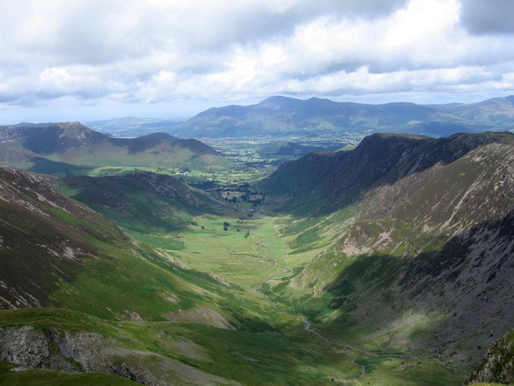 The view north down Newlands to the Skiddaw fells from Dale Head's summit