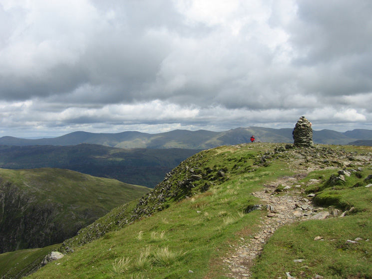 Dale Head summit with the Helvellyn range in the distance