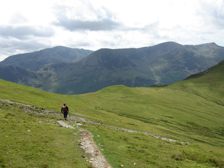 Heading down to Littledale Edge from Hindscarth with Pillar and the High Stile ridge ahead