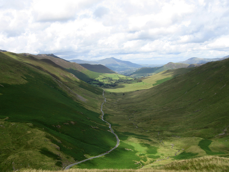 The Newlands Pass road and Keskadale Beck