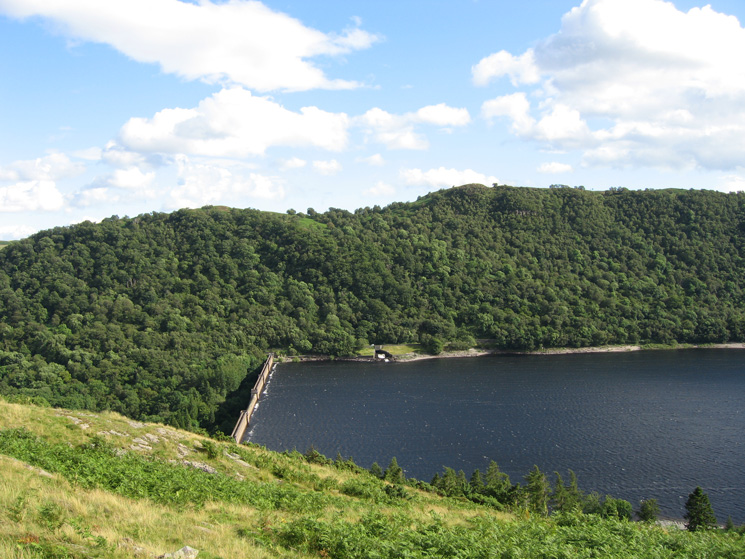 Haweswater Dam with the water level well below the top