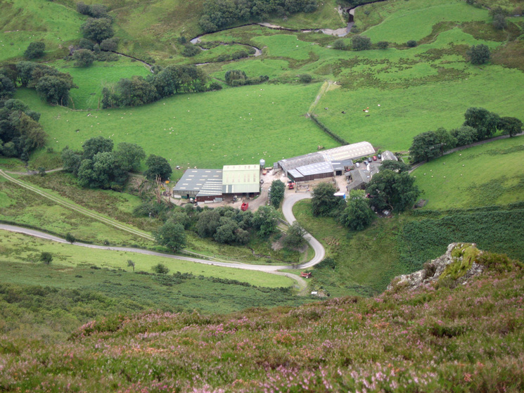 Keskadale Farm and the Devil's Elbow from Ard Crags' summit
