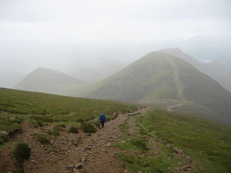 Ascending Sail in the rain. Scar Crags behind with Causey Pike beyond, Outerside to the left