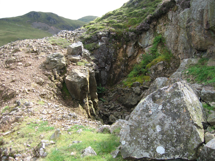Part of the old mine workings (Whiteoak Lead Mine) above High Nook Farm