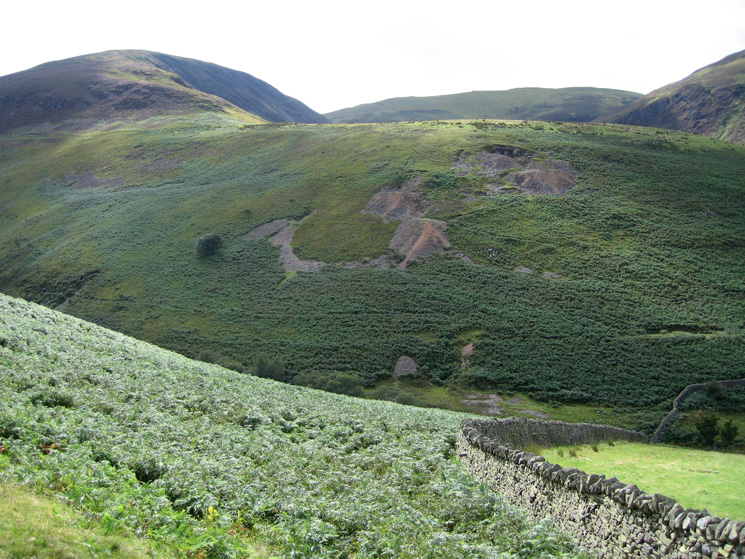 Looking back to the Whiteoak Lead Mine on the north east ridge of Gavel Fell