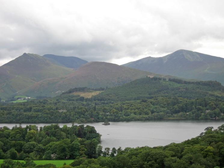 Causey Pike, Barrow and Grisedale Pike seen across Derwent Water from Castle Head