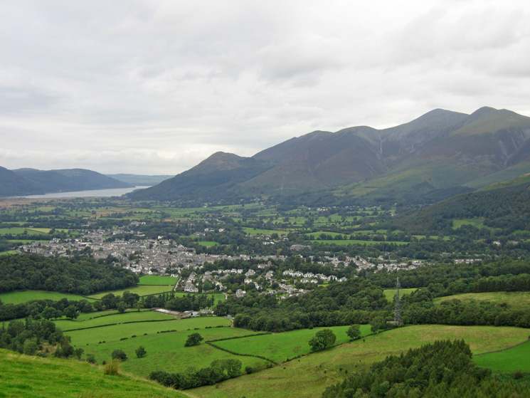 The town of Keswick  with the Skiddaw fells behind
