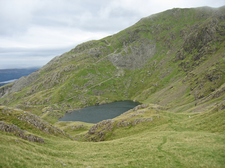 Looking back to Low Water and the main path up Coniston Old Man