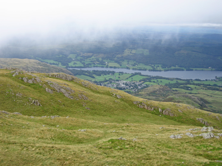A glimpse of Coniston Water and Coniston village before we head into the clouds