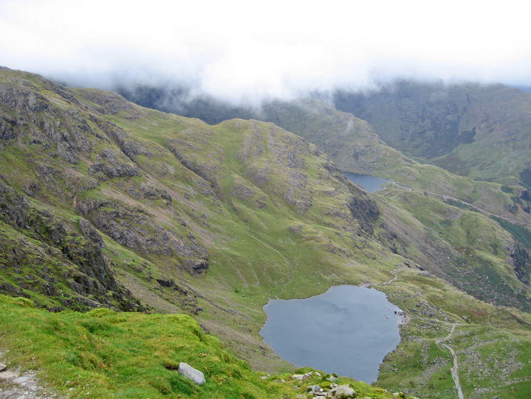Low Water far below and a glimpse of Levers Water from Coniston Old Man's summit