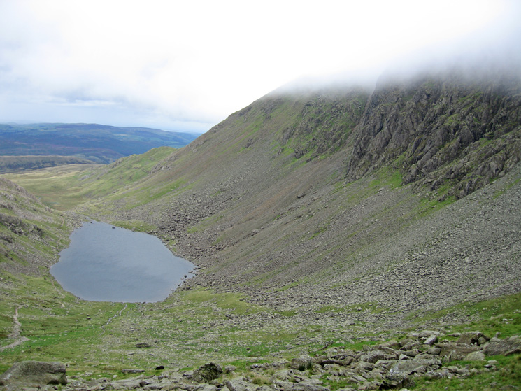 Goat's Water and the lower part of Dow Crag from below Goat's Hawes