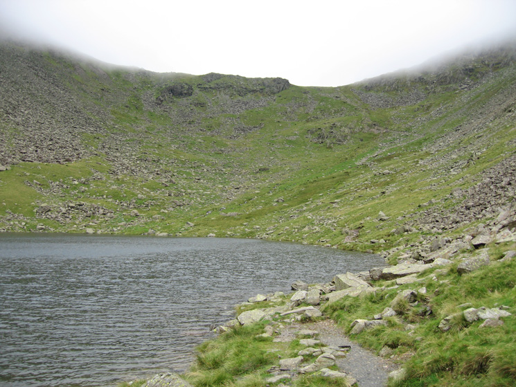 Looking back up at Goat's Hawes from Goat's Water